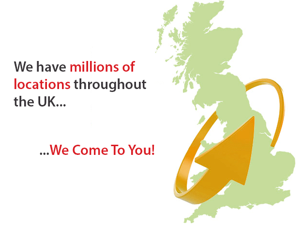 We have millions of locations throughout the UK - We come to you!